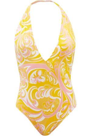 Emilio Pucci Plunge-neck Albizia-print Halterneck Swimsuit - Womens