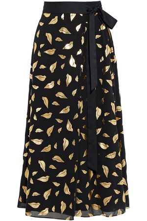 Diane von Furstenberg Women Printed Skirts - Woman Nalani Metallic Printed Chiffon Midi Wrap Skirt Size L