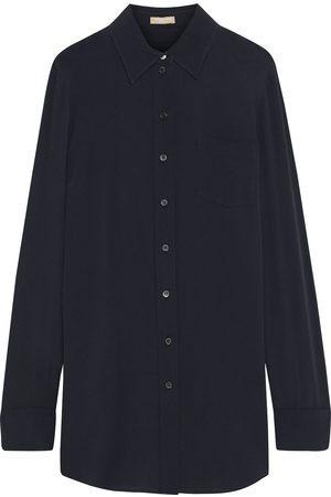 Michael Kors Women Long sleeves - Woman Silk-blend Crepe Shirt Navy Size 10