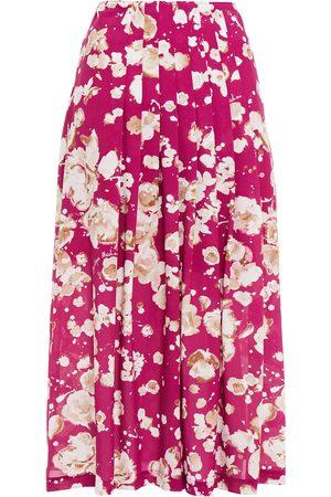 Moschino Women Printed Skirts - Woman Pleated Floral-print Crepe Midi Skirt Fuchsia Size 38