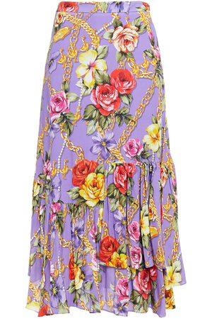 Moschino Women Printed Skirts - Woman Asymmetric Printed Crepe De Chine Midi Skirt Lavender Size 38