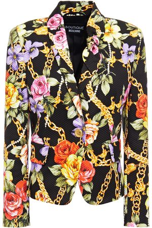 Moschino Woman Floral-print Cotton-blend Cloqué Blazer Size 38