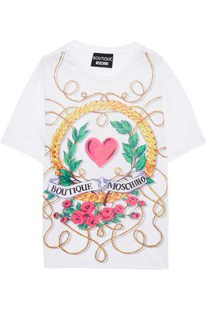 Moschino Woman Oversized Printed Cotton-jersey T-shirt Size 38
