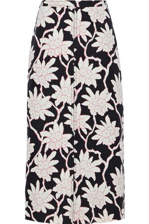 VALENTINO Woman Floral-print Wool And Silk-blend Twill Skirt Size 42