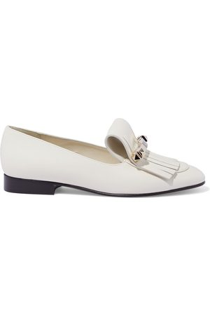 VALENTINO GARAVANI Women Loafers - Woman Uptown Studded Fringed Leather Loafers Ivory Size 35.5