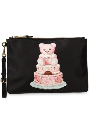 MOSCHINO Woman Leather-trimmed Printed Satin-twill Pouch Size