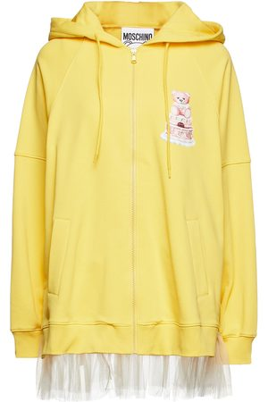 Moschino Women Hoodies - Woman Tulle-trimmed Printed French Cotton-terry Hoodie Size 36
