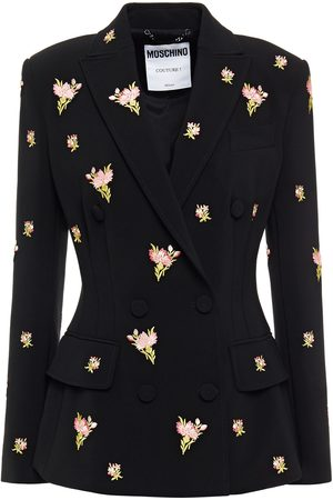 Moschino Woman Embroidered Crepe Blazer Size 38