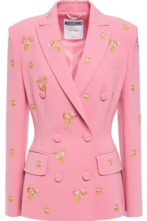 MOSCHINO Woman Embroidered Crepe Blazer Baby Size 38