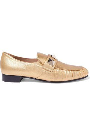 VALENTINO GARAVANI Woman Roman Stud Metallic Textured-leather Loafers Size 35.5
