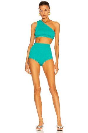 Bottega Veneta Crinkle Bikini Set in Teal