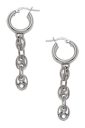 LOREN STEWART Puff Chain Huggie Earrings in Metallic