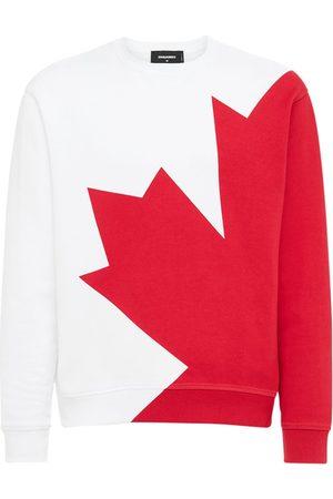 Dsquared2 Megaleaf Print Cotton Jersey Sweatshirt