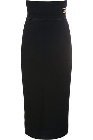 Dolce & Gabbana Logo Stretch Jersey Midi Pencil Skirt