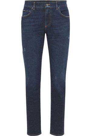 Dolce & Gabbana Logo Plaque Stretch Denim Jeans