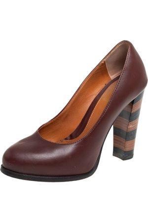 Fendi Burgundy Leather Pequin Block Heel Pumps Size 35