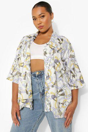 Boohoo Womens Plus Chain Print Kimono - - 12