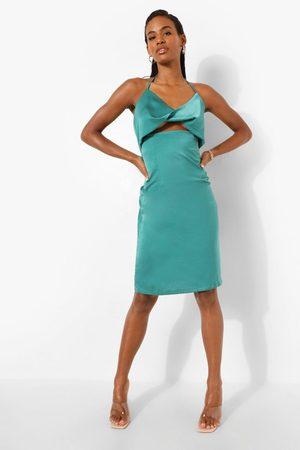 Boohoo Womens Satin Halterneck Twist Mini Dress - - 6