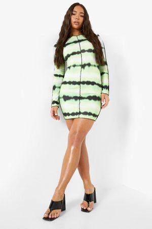 Boohoo Womens Tie Dye Long Sleeve Bodycon Mini Dress - - 2