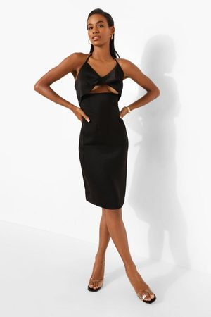 Boohoo Womens Satin Halterneck Twist Mini Dress - - 8