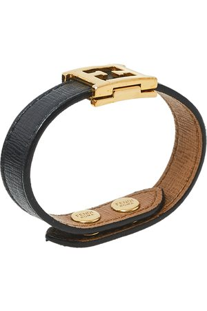 Fendi Leather Gold Tone FF Logo Bracelet