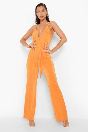 Boohoo Womens Textured Slinky Wrap Flare Jumpsuit - - 4