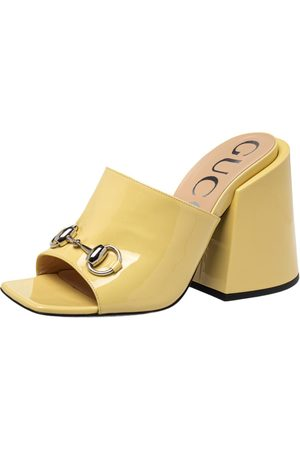 Gucci Patent Leather Lexi Slide Sandals Size 37.5
