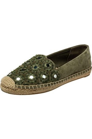 Tory Burch Suede Embellished Espadrille Flats Size 35