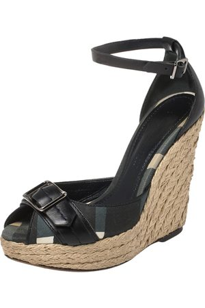 Burberry Leather and Novacheck Canvas Buckle Detail Peep Toe Espadrille Wedge Sandals Size 36