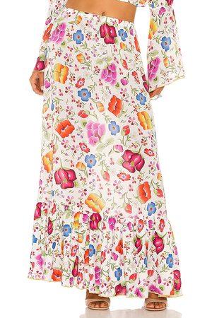 Luli Fama Ruffle Hem Maxi Skirt in Pink.