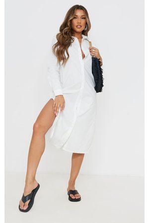 PRETTYLITTLETHING Women Casual Dresses - Cotton Split Sides Button Down Midaxi Shirt Dress