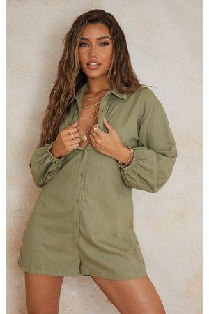 PRETTYLITTLETHING Women Long sleeves - Khaki Linen Look Oversized Long Sleeve Shirt Romper