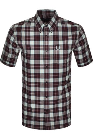Fred Perry Checked Short Sleeved Shirt Burgundy
