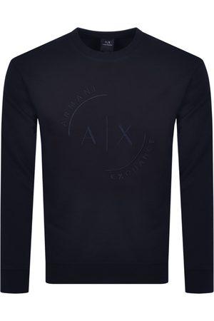 Armani Crew Neck Logo Sweatshirt Navy