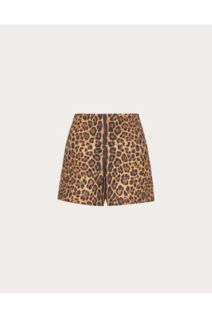 VALENTINO Printed Crepe Couture Shorts Women Animal Print 65% Virgin Wool 35% Silk 36