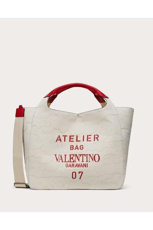 VALENTINO GARAVANI Large 07 Camouflage Edition Atelier Tote Bag In Canvas Women Natural 63% Cotton 37% Linen OneSize
