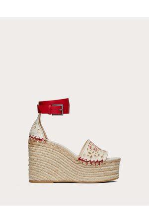 VALENTINO GARAVANI Atelier Shoes 08 San Gallo Edition Wedge Sandal 105mm Women Natural Linen 37%, Cotton 63% 35