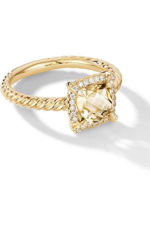 David Yurman 18kt yellow Petite Chatelaine citrine and pavé diamond ring