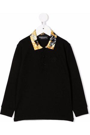 Versace Kids Baroque-print collar polo shirt