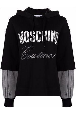 Moschino Rhinestone-embellished logo hoodie