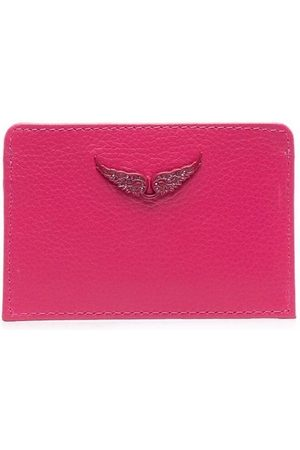 Zadig & Voltaire Grained-leather logo-plaque cardholder