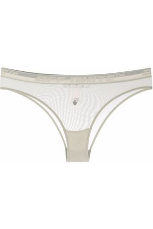 OFF-WHITE Logo-waistband mesh briefs - Grey
