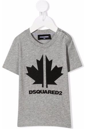 Dsquared2 Kids Leaf-print cotton T-shirt - Grey