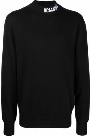 Moschino Embroidered-logo long-sleeve jumper