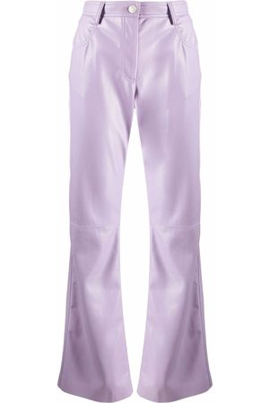 Msgm High-waisted faux-leather trousers