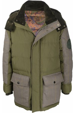 Etro Men Puffer Jackets - Herringbone-sleeved padded down jacket
