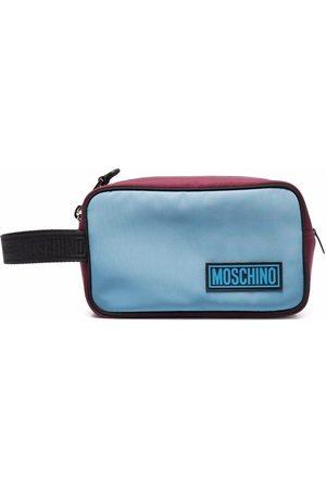 Moschino Two-tone logo-patch wash bag