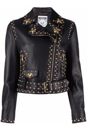 Moschino Teddy Studs leather biker jacket