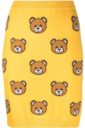 Moschino Teddy bear-print wool skirt