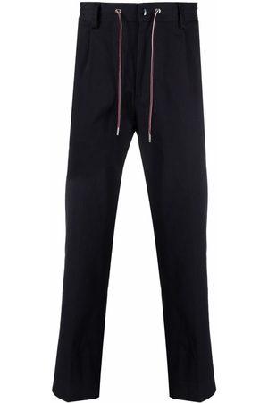 Moncler Men Straight Leg Pants - Logo-tag drawstring trousers